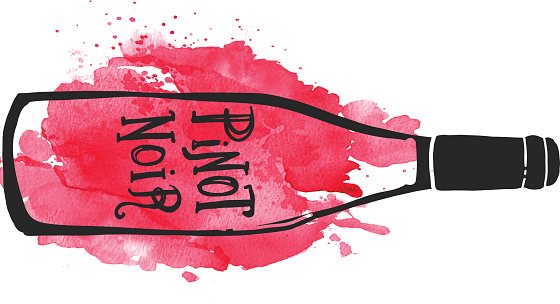 Pinot Noir Wine bottle label hand lettering design on watercolor